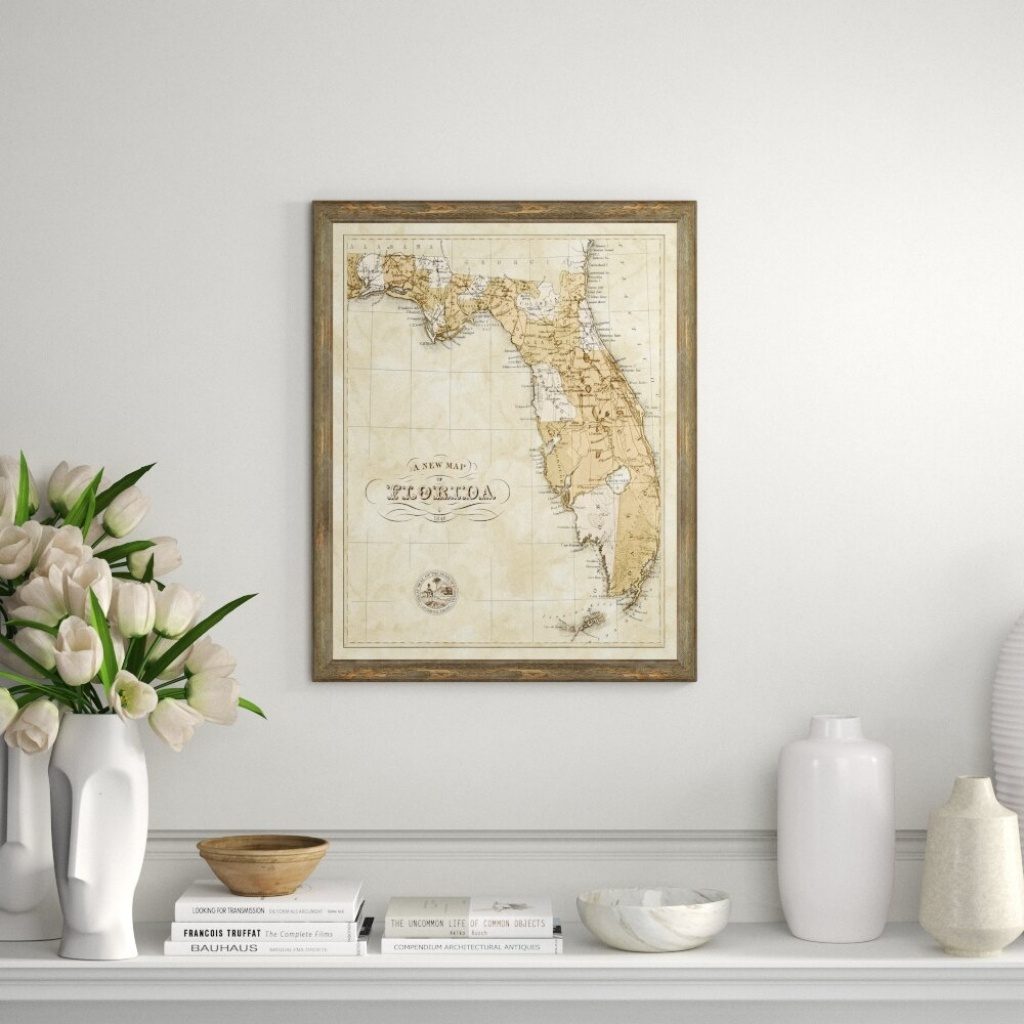 Charlton Home 'map Of Florida' Framed Graphic Art Print | Wayfair - Map Of Florida Wall Art