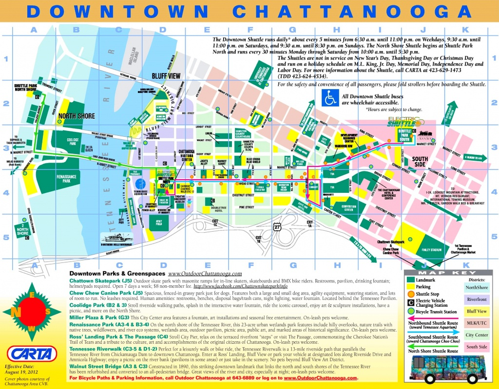 Chattanooga Tourist Map - Printable Map Of Chattanooga