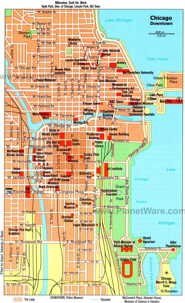 Chicago, Il - Map. Tagged Along On A Friends Business Trip Solo - Printable Map Of Downtown Chicago Streets