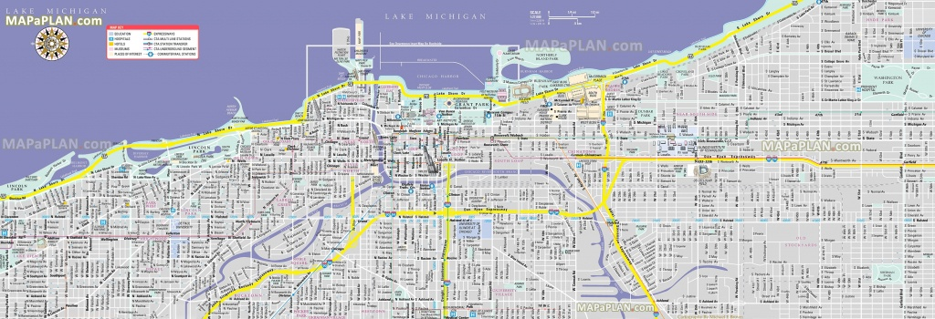 Chicago Maps - Top Tourist Attractions - Free, Printable City Street Map - Printable Street Map Of Downtown Chicago