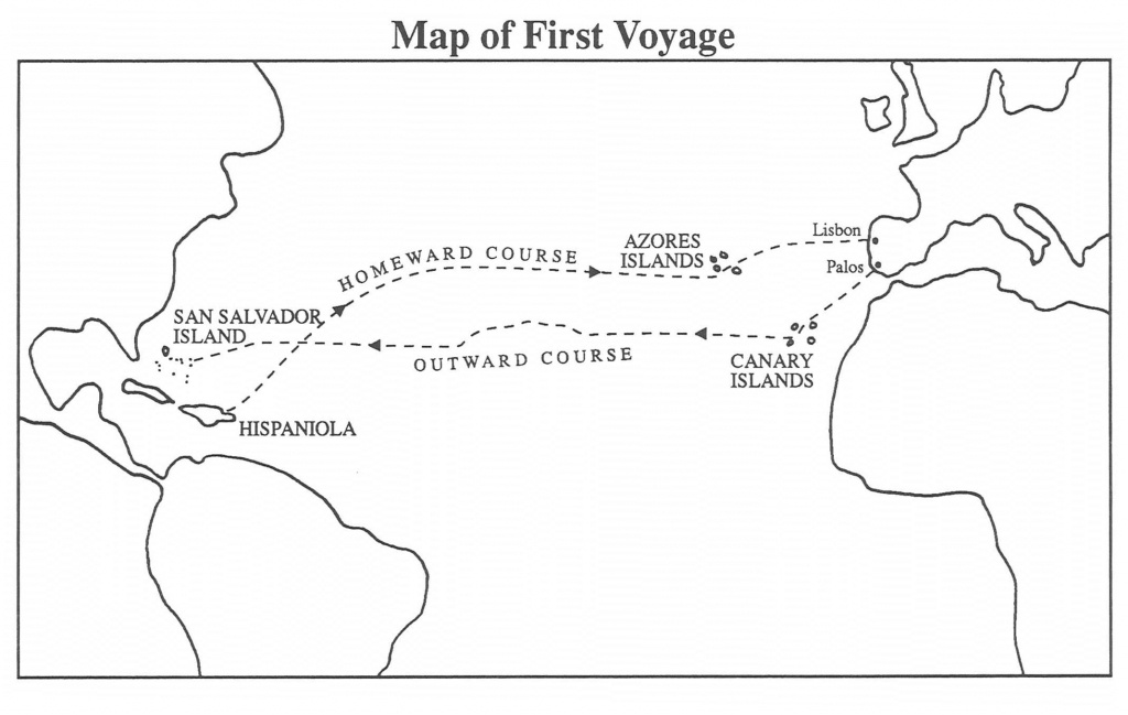 Christopher Columbus First Voyage | Chapter 5: First Voyage To The - Printable Map Of Christopher Columbus Voyages