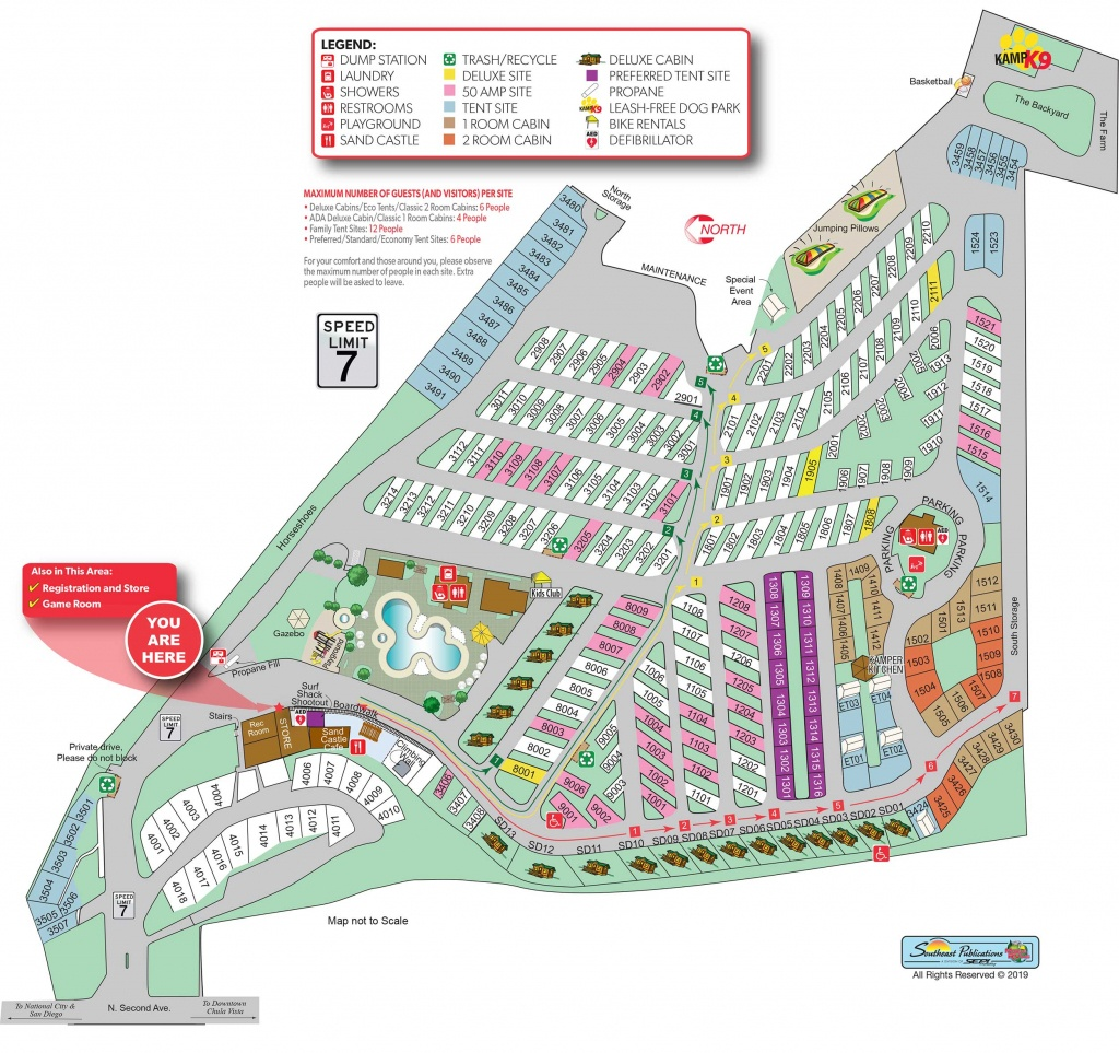 Chula Vista, California Tent Camping Sites | San Diego Metro Koa - California Tent Camping Map
