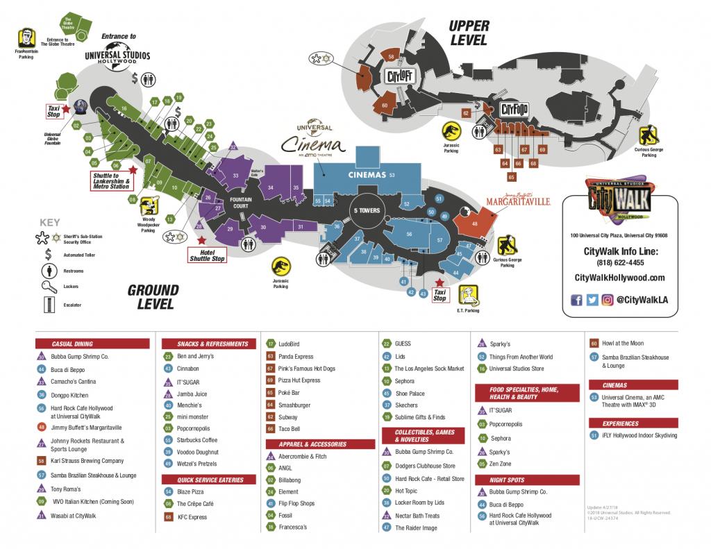 City Walk Map | Area Code Map - Universal Citywalk California Map