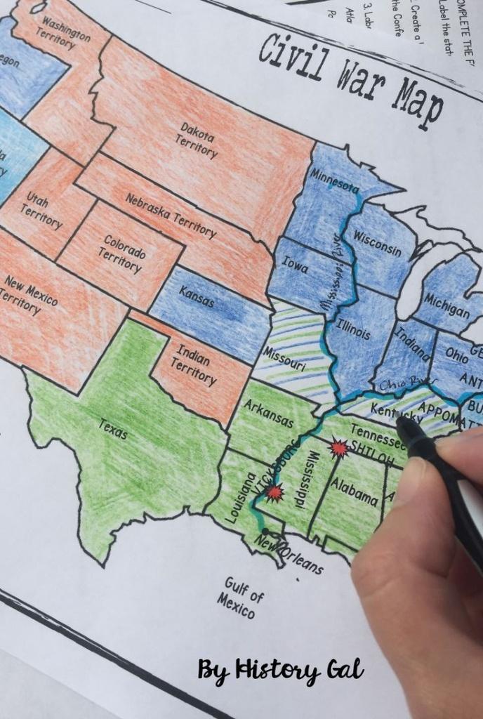 Civil War Map Activity | U.s. History Ideas | Civil War Activities - Printable Civil War Map