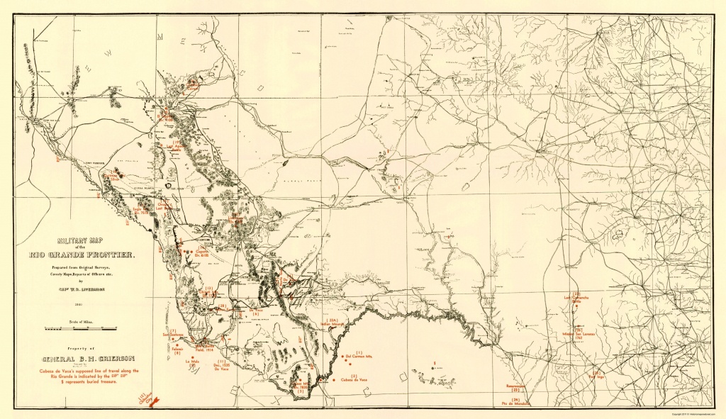 Civil War Map - Military Map Of Rio Grande Frontier 1883 - Texas Civil War Map