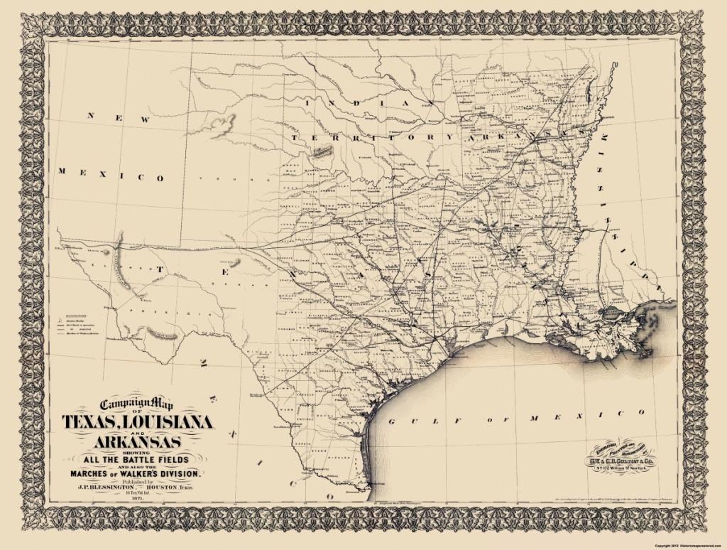 Civil War Map - Texas, Louisiana, & Arkansas 1871 - Texas Louisiana Map