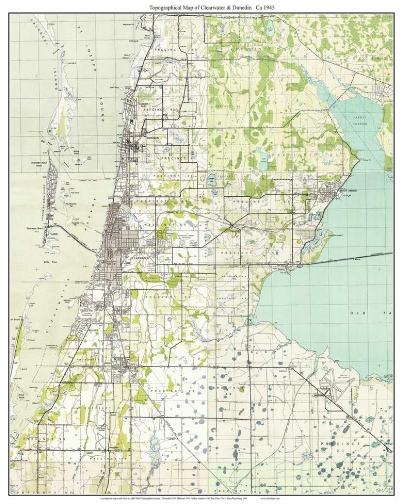 Clearwater & Dunedin Florida 1943 Old Topo Map A Composite   Etsy - Google Maps Dunedin Florida