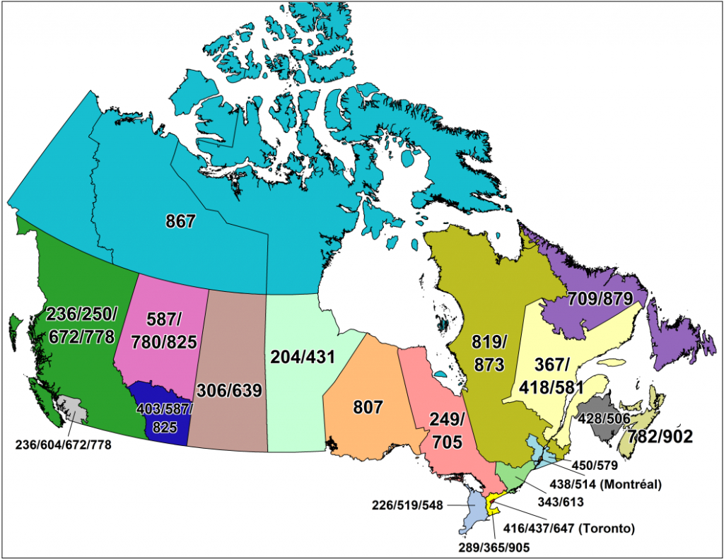 Cna -Canadian Area Code Maps - Printable Map Of Western Canada