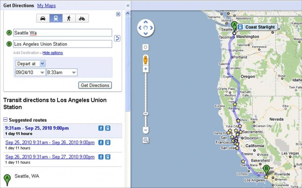 Coast Starlight On Google Transit – Railpac - Amtrak California Coast Map