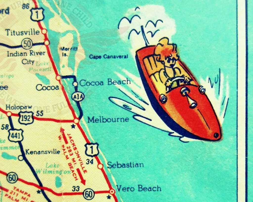 Cocoa Beach Wall Art Vintage Map Print Cocoa Beach Fl Gifts   Etsy - Coco Beach Florida Map