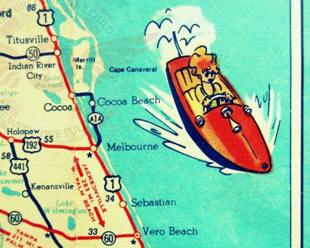 Cocoa Beach Wall Art Vintage Map Print Cocoa Beach Fl Gifts | Etsy - Cocoa Beach Florida Map
