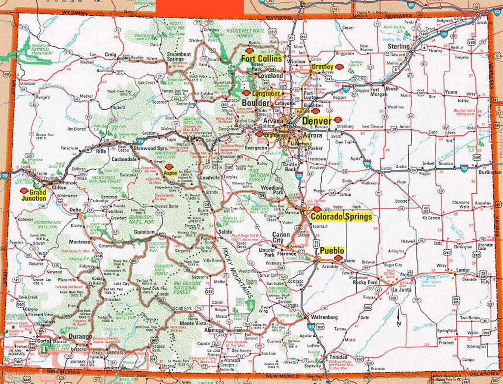 Colorado Map With Cities And Travel Information | Download Free - Printable Map Of Colorado Cities