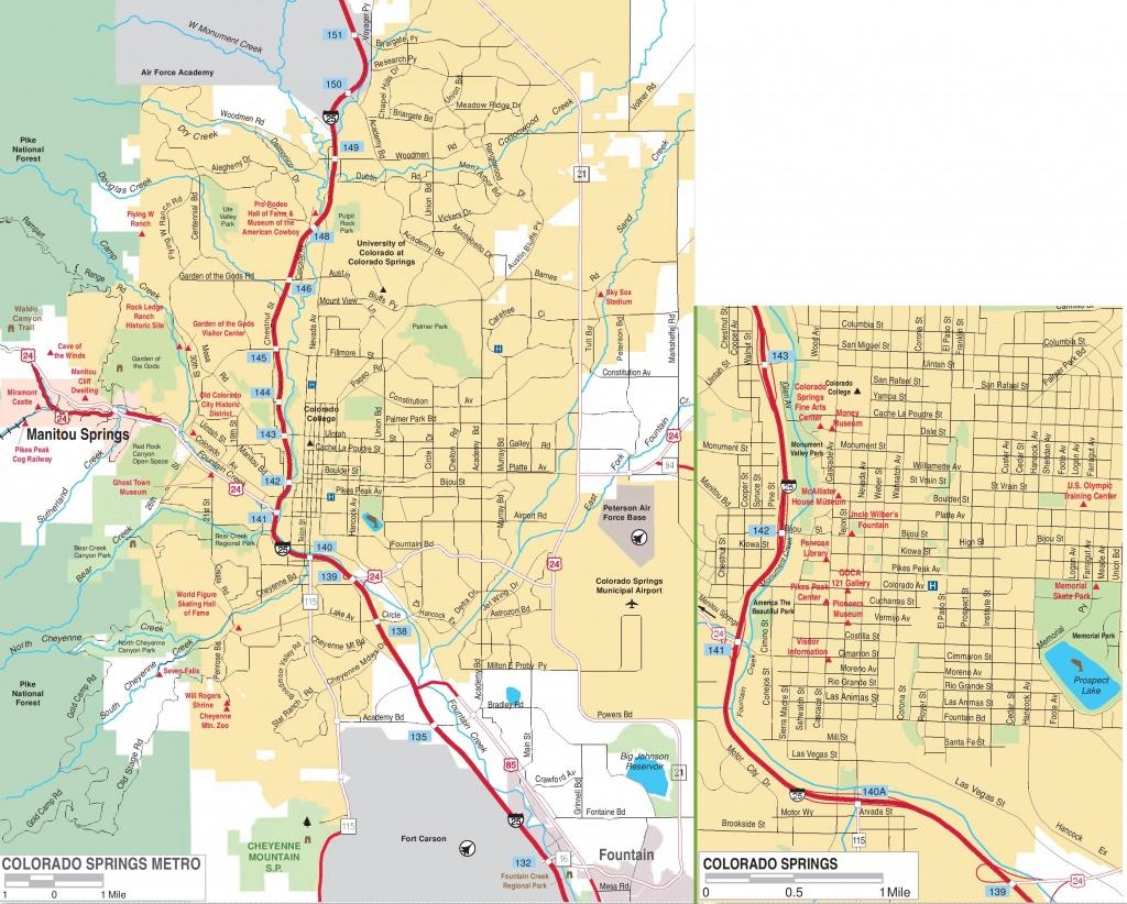 Colorado Springs Road Map - Printable Map Of Colorado Springs