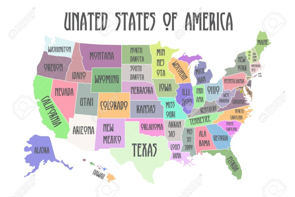 Colored Poster Map Of United States Of America With State Names - Printable Map Of The United States Of America
