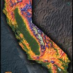 Colorful California Map   Topographical Physical Landscape   California Elevation Map