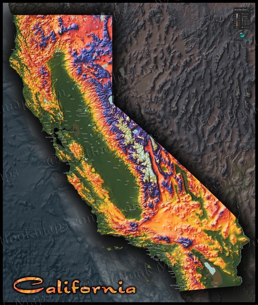 Colorful California Map   Topographical Physical Landscape - California Elevation Map