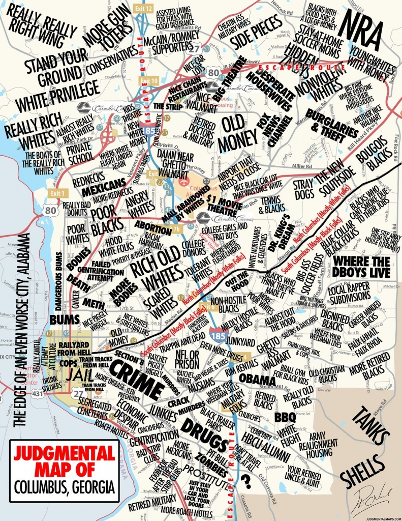 Columbus, Gaby A Disgruntled Citizen Judgmental Maps Copr. 2014. All - Printable Map Of Columbus Ga