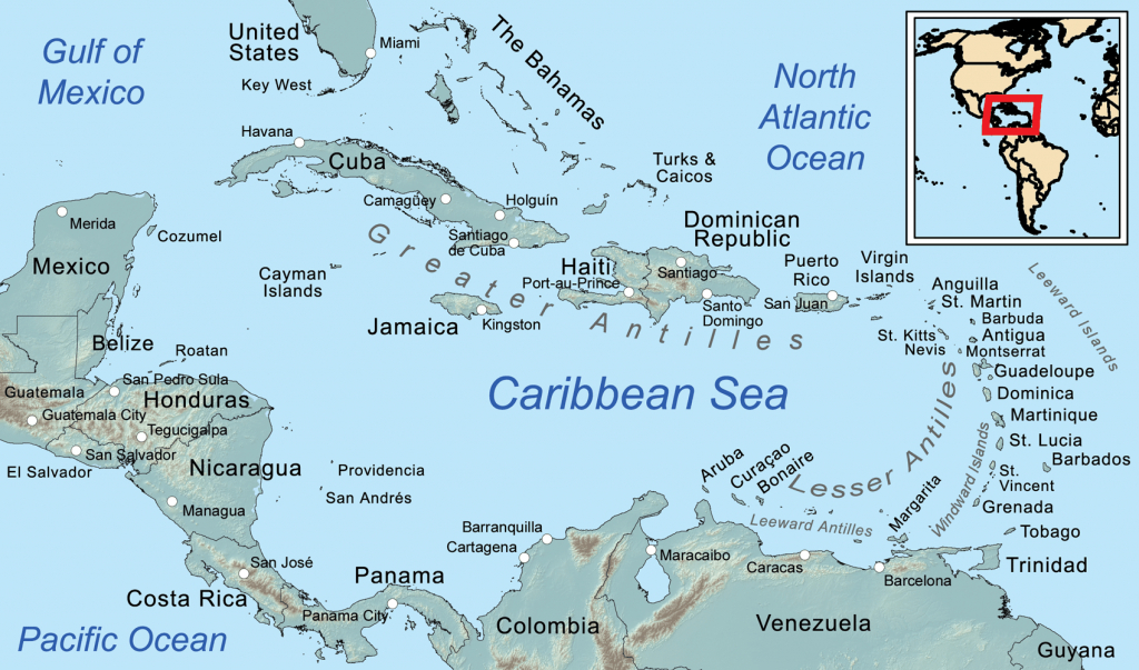 Comprehensive Map Of The Caribbean Sea And Islands - Florida Gulf Islands Map
