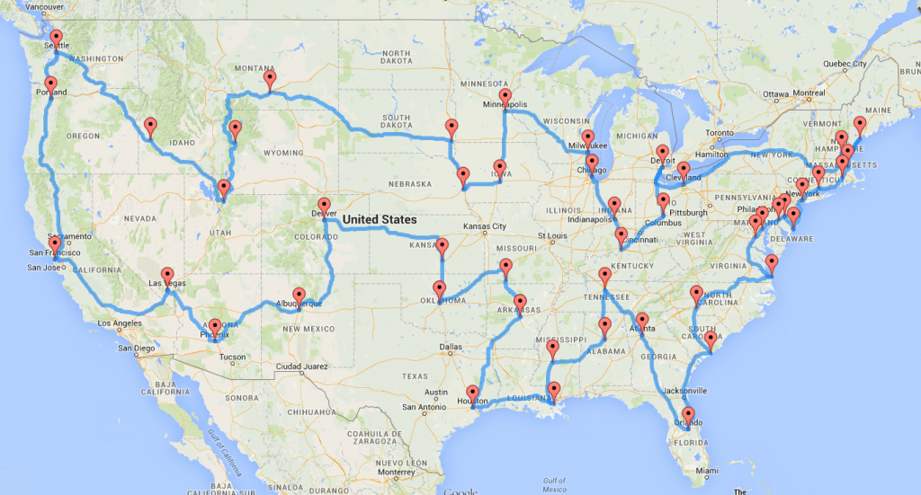 Computing The Optimal Road Trip Across The U.s. | Dr. Randal S. Olson - Road Map From California To Texas