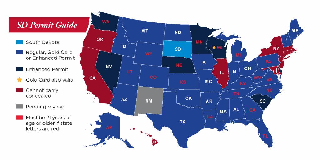 Concealed Pistol Permits: South Dakota Secretary Of State - Texas Reciprocity Map 2018