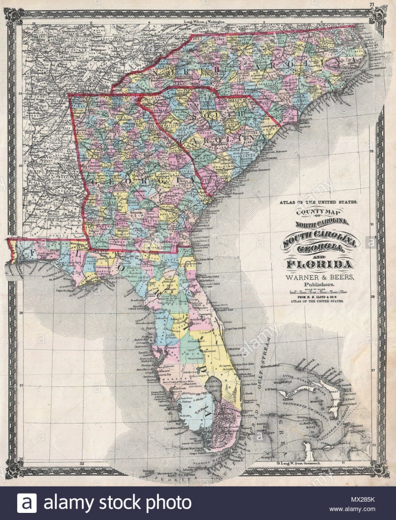 County Map Of North Carolina, South Carolina, Georgia And Florida - Map Of Georgia And Florida