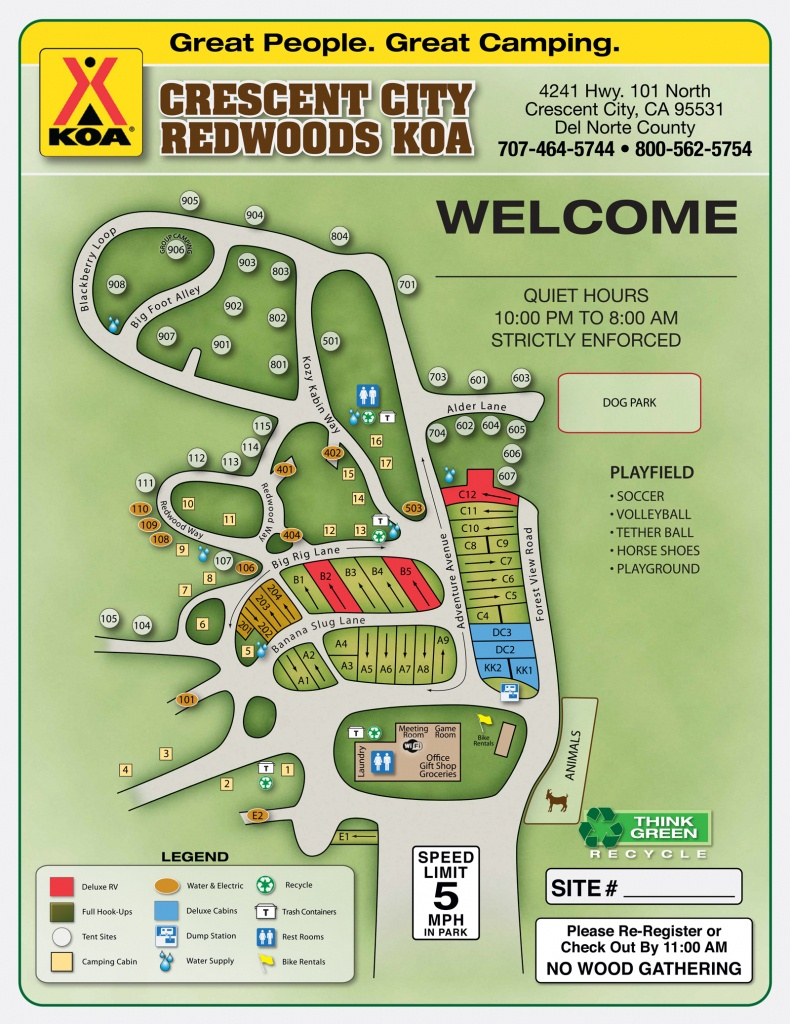 Crescent City, California Campground | Crescent City / Redwoods Koa - California Campgrounds Map