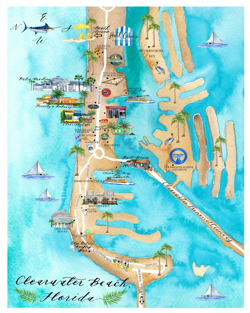 Custom Art Project : : Clearwater Beach Map — Lisa Gilmore Design - Clearwater Beach Florida Map Of Hotels