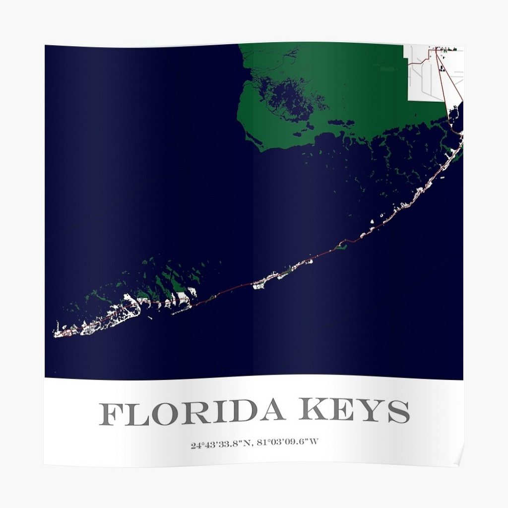 "Custom Map Of The Florida Keys"" Posteraocimages | Redbubble - Florida Keys Map Poster"