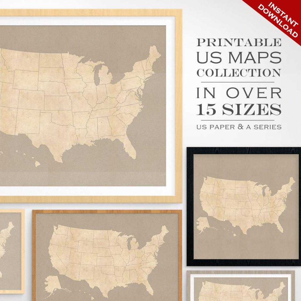Custom Travel Maps Printable Us Travel Maps Vintage United | Etsy - Custom Printable Maps
