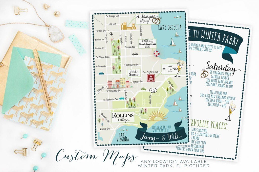 Custom Wedding Map-Any Location Available-Winter Park Florida | Etsy - Winter Park Florida Map
