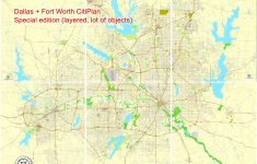 Dallas + Fort Worth Tx Pdf Map, Us, Exact Vector Street Cityplan Map In 6  Parts, V.29.11. Fully Editable, Adobe Pdf   Street Map Of Fort Worth Texas