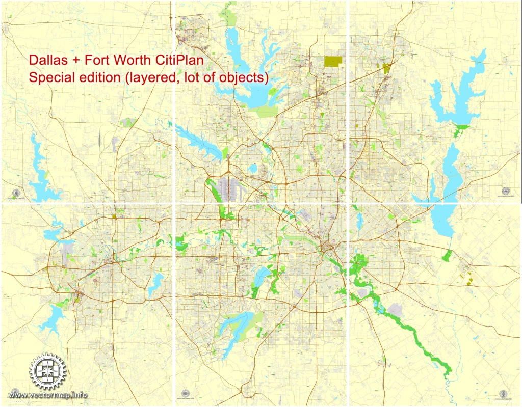 Dallas + Fort Worth Tx Pdf Map, Us, Exact Vector Street Cityplan Map In 6  Parts, V.29.11. Fully Editable, Adobe Pdf - Street Map Of Fort Worth Texas