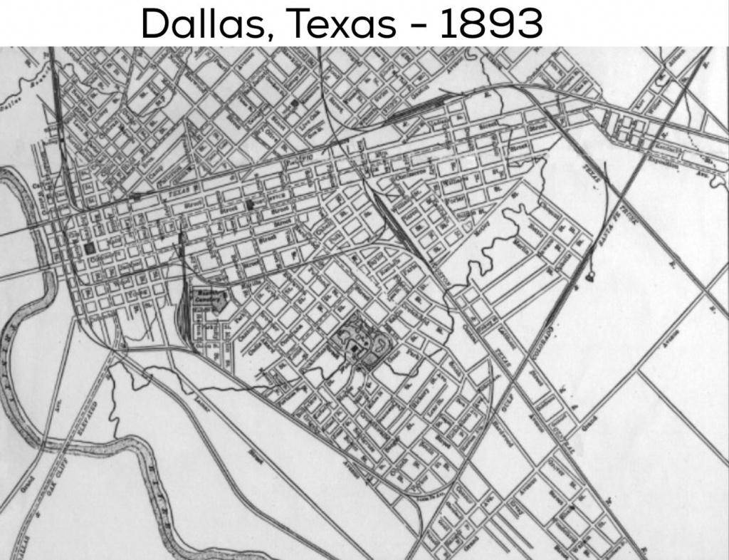 Dallas Street Map: 1893   Dallas County, Usa   Dallas Texas, Dallas - Street Map Of Dallas Texas