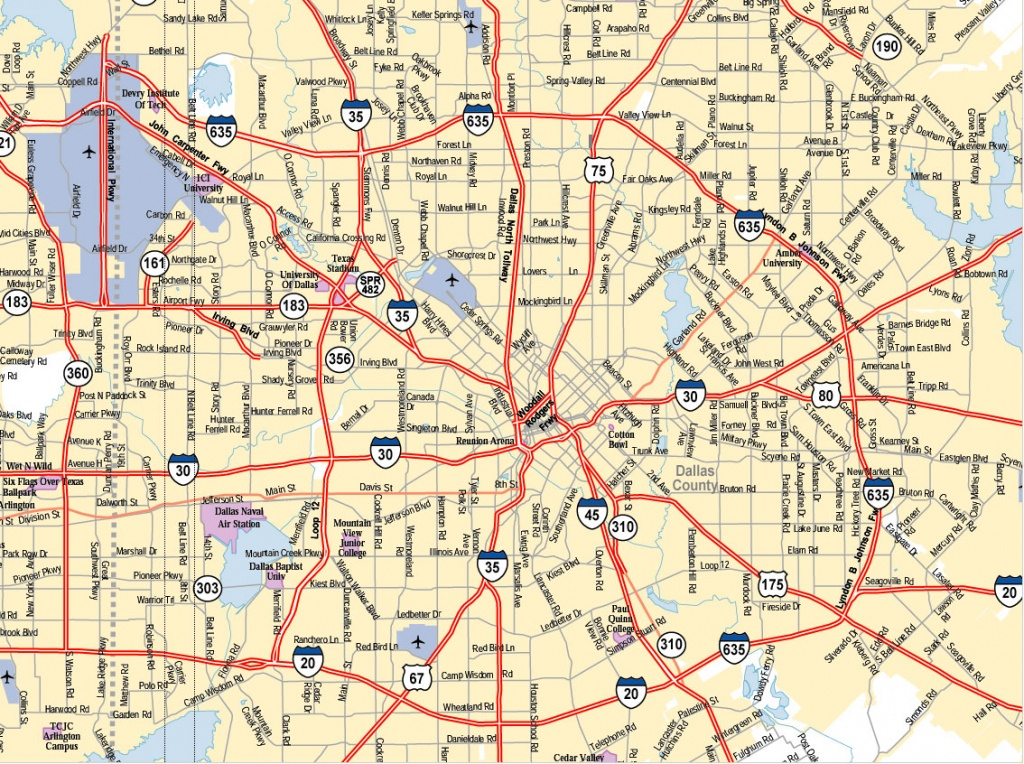 Dallas Texas City Map - Dallas Texas Usa • Mappery - Dallas Map Of Texas
