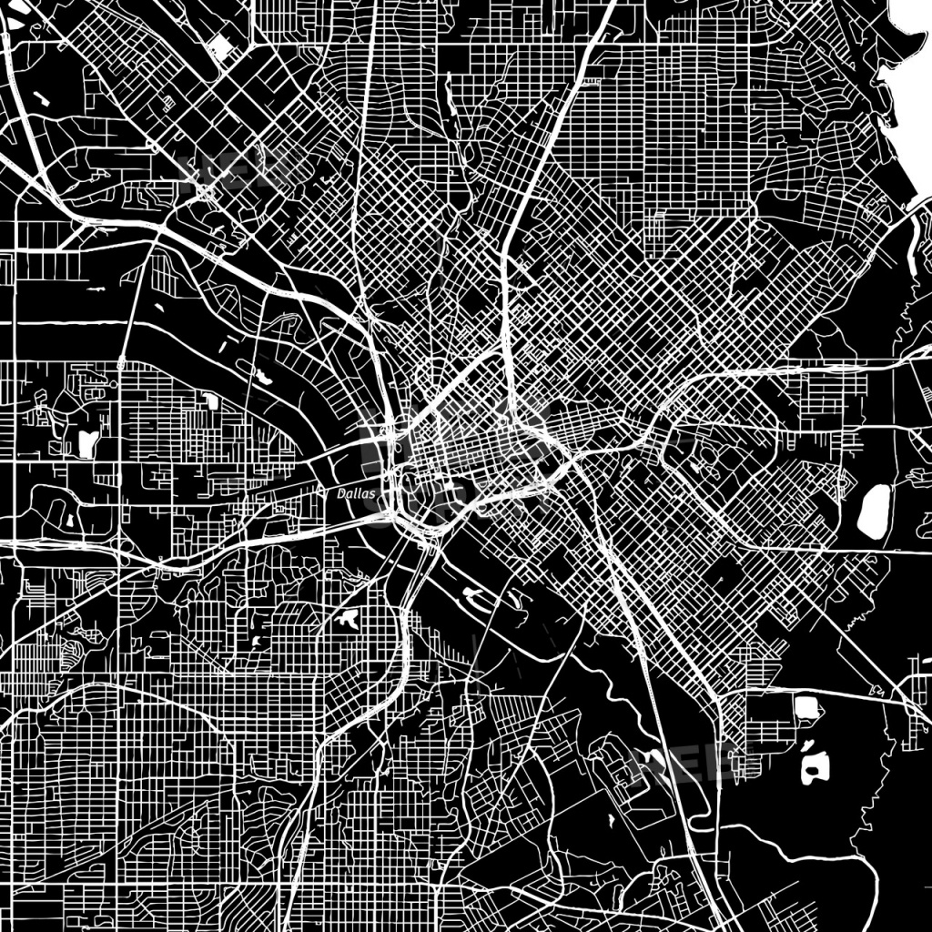 Dallas, Texas, Downtown Map, Dark | Hebstreits Sketches - Map Of Downtown Dallas Texas