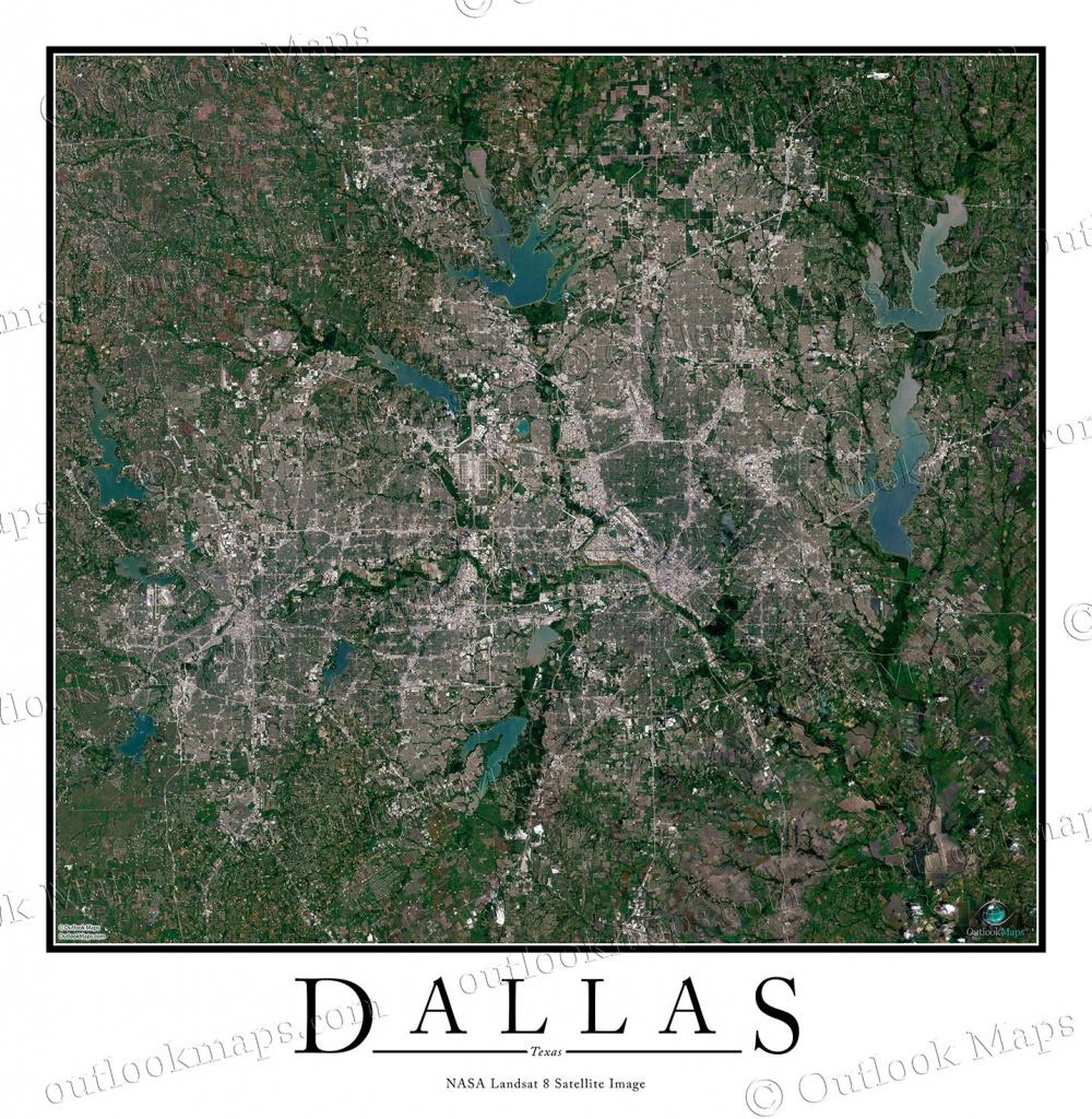 Dallas, Tx Satellite Map Print | Aerial Image Poster - Aerial Map Of Texas