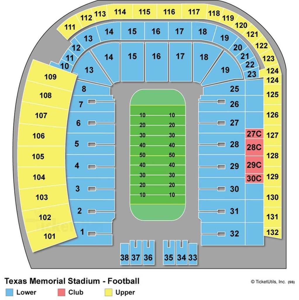 Darrell K Royal-Texas Memorial Stadium - Maplets - Texas Longhorn Stadium Seating Map
