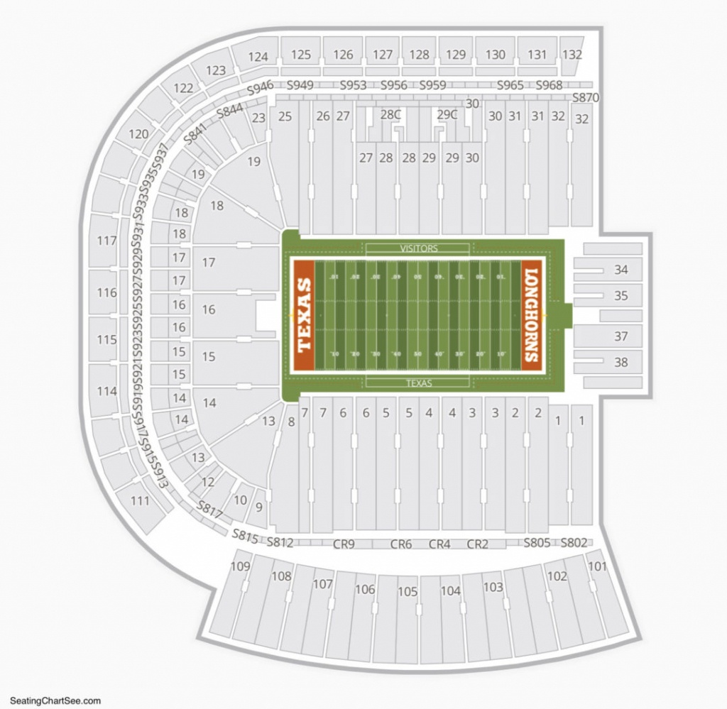 Darrell K Royal Texas Memorial Stadium Seating Chart   Seating - Texas Longhorn Stadium Seating Map