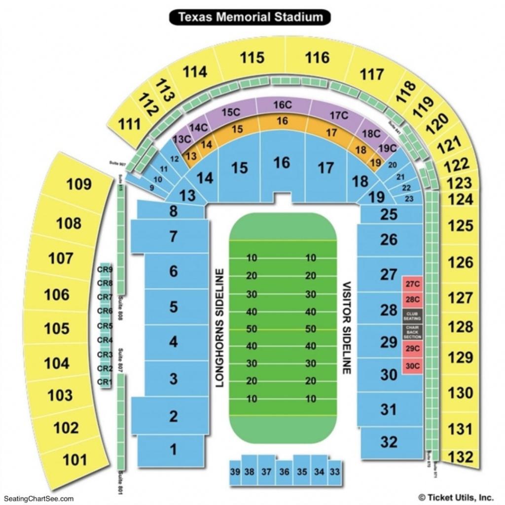 Darrell K Royal Texas Memorial Stadium Seating Chart   Seating - University Of Texas Stadium Seating Map