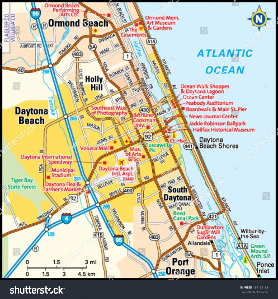 Daytona Beach, Florida Area Map Stock Photo 139162133 - Avopix - Map Of Daytona Beach Florida