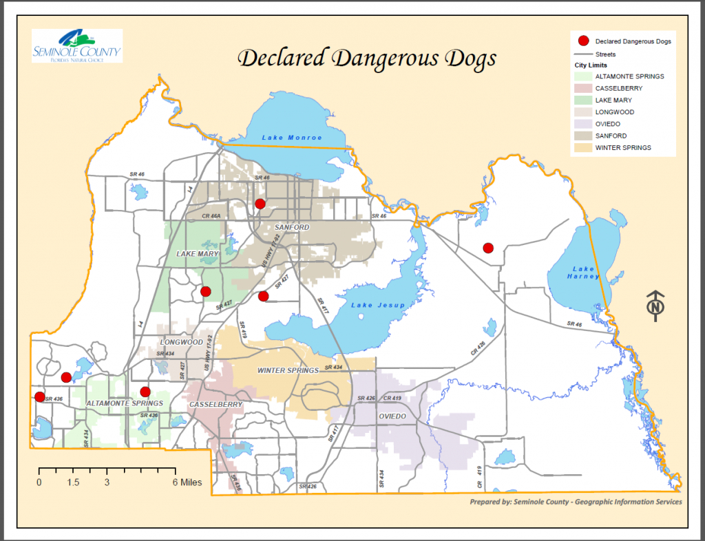 Declared Dangerous Dogs List Residing In Seminole County | Seminole - Sanford Florida Map