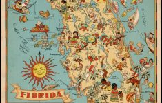 Decorative Whimsical Map Of Florida. | Florida | Florida Pictures   Vintage Florida Map Poster