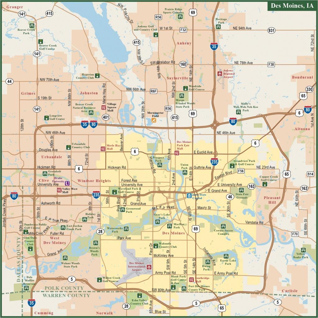 Des Moines Metro Map | Digital Vector | Creative Force - Printable Map Of Des Moines Iowa