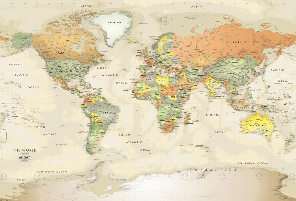 Detailed Antique Oceans World Political Map Mural - World Maps Online Printable