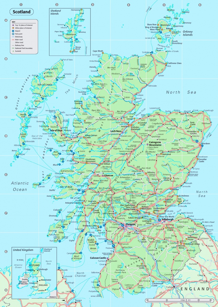 Detailed Map Of Scotland - Printable Road Map Of Scotland