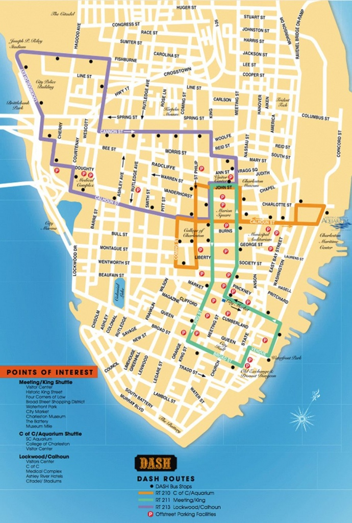 Detailed Map Of The Charleston Dash Trolley Routes. | Charleston Sc - Printable Map Of Charleston Sc