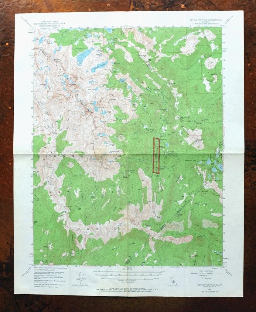 Devils Postpile California Vintage Usgs Topographic Map 1953 Mammoth - Mammoth Mountain Map California