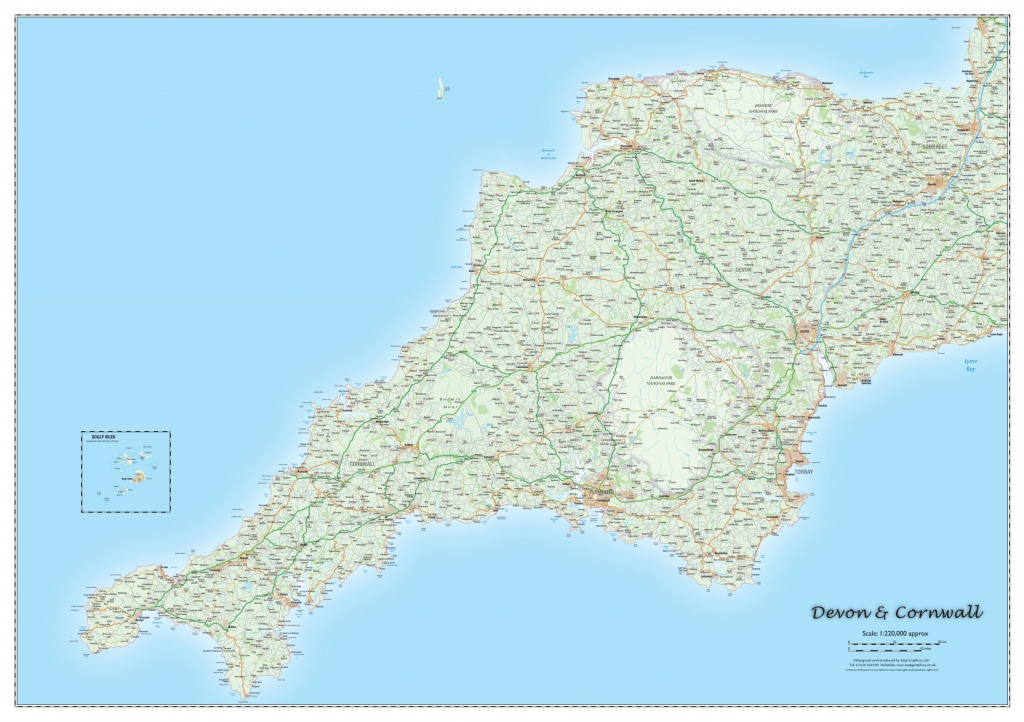 Devon And Cornwall County Map • Map Graphics - Printable Map Of Cornwall