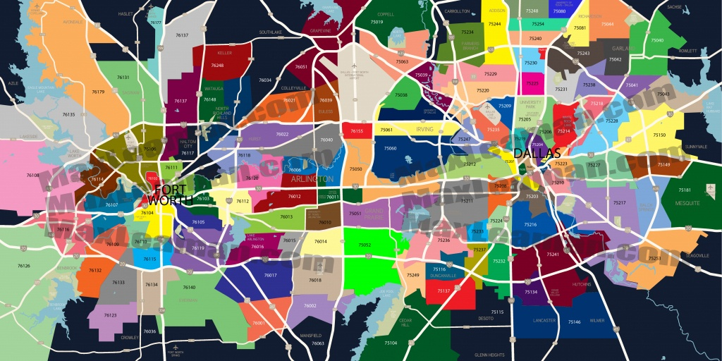 Dfw Zip Code Map | Mortgage Resources - Printable Map Of Dallas Fort Worth Metroplex