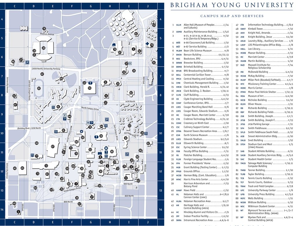 Directions & Maps   Mechanical Engineering - Byu Campus Map Printable